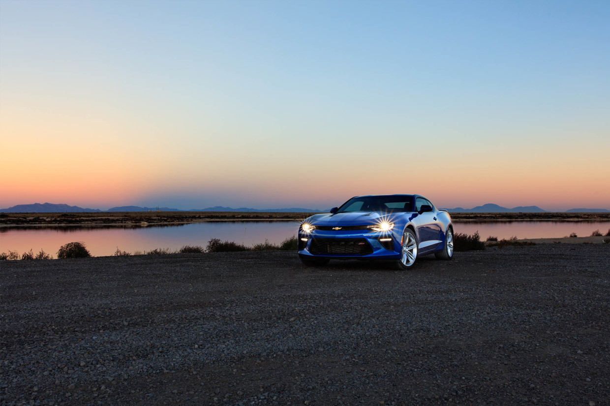 As part of the Chevrolet Find New Roads Trip, invited guests accumulated 171,252 miles driving 2016 Camaros to all 48 contiguous States. This Hyper Blue Metallic Camaro SS was photographed at White Sands National Monument, outside Alamogordo, New Mexico. Justin Cesler / Chevrolet.